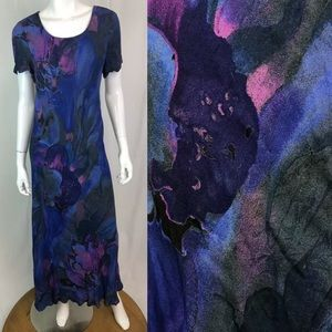 Vintage 90's Carole Little Watercolor Maxi Dress